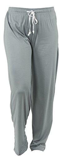 Loungewear Pants - Hello Mello Trendy Womens Loungewear Pants with Luxurious Soft Fabric and Adjustable Elastic Waistband - Morning Fog - Small/Medium