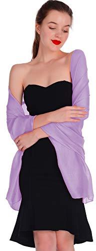 Wedding Shawl Wrap Soft Chiffon Scarve Large long Wraps Scarf for Wedding Evening(Purple)