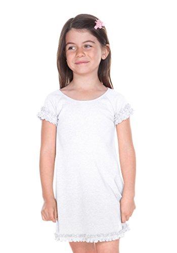 Kavio! Girls 3-6X Lettuce Edge Raglan Cap Sleeve Dress White 6X - Lettuce Edge T-shirt