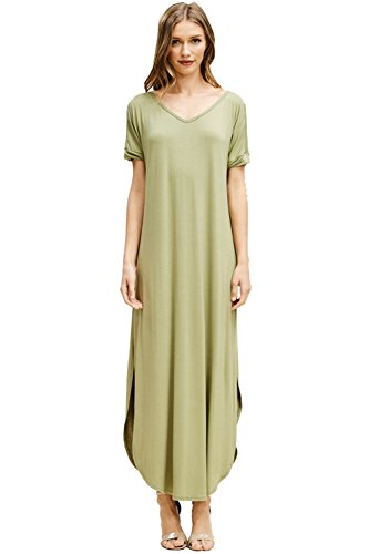 32f5b66f23 Galleon - Annabelle Women s Plus Size Deep U V-Neck Twisted Short Sleeves  Low Side Slits Maxi Dress With Side Pockets New Olive XXX-Large D5210