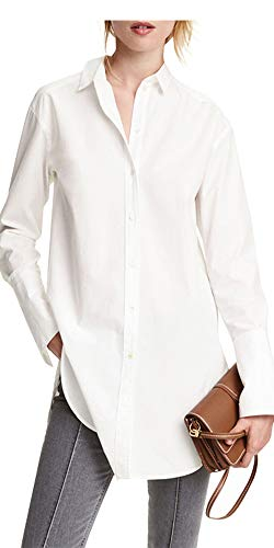 (IRISIE Women Boyfriend Solid Button Down Longline Long Sleeve Shirt(M,White))