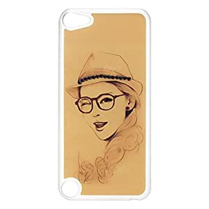 Buy Beautiful Girl with Glasses Pattern Hard Case with Rhinestone for iPod Touch 5