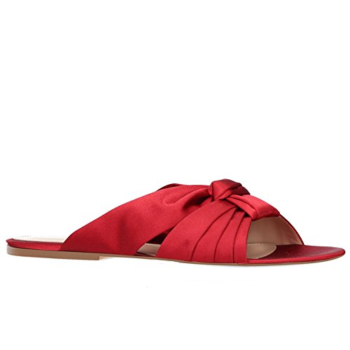 Vacation Slippers Red Size Color Women's Large Flat Size Ladies Red Shoes Satin Heel Sandals Shoes Beach 46 Casual x00BaOAqvw