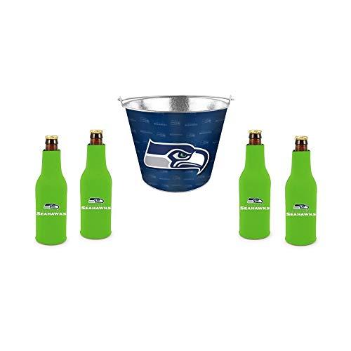 (Seahawks - 5 Quart Beer Bucket & Bottle Suit (4) Set | Seattle Seahawks Beer Bucket Gift Set)