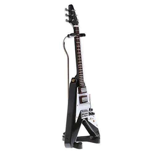 Baoblaze 1/6 Toy V-Shape Electric Guitar Scale Model for Home Office Shop Desk Shelf Decorative Ornaments Gifts