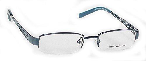 ES129 Metal Rectangular Oval Semi Rimless Eye Glasses Frame (Blue, 44)