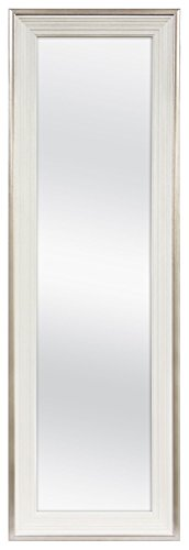 MCS 12x48 Inch Over the Door Mirror, 18x54 Inch Overall Size, White -