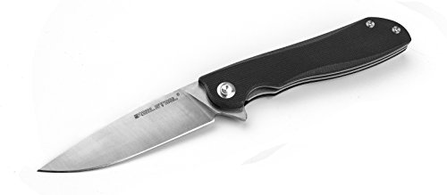 (Real Steel RSK E801 Megalodon '101 safety' liner lock folding knife ball bearing system flipper long blade hidden lanyard hole (Black))