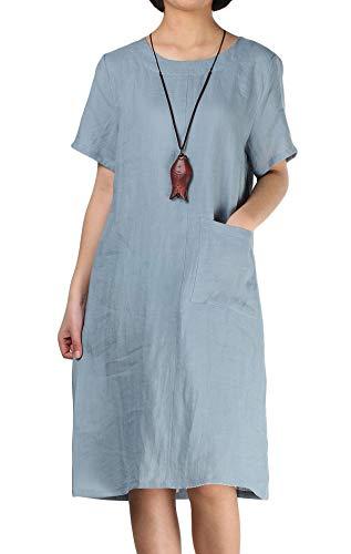 (Mordenmiss Women's Linen Dresses Simple Short Sleeve T-Shirt Tunic Dress (M,Light Blue) )