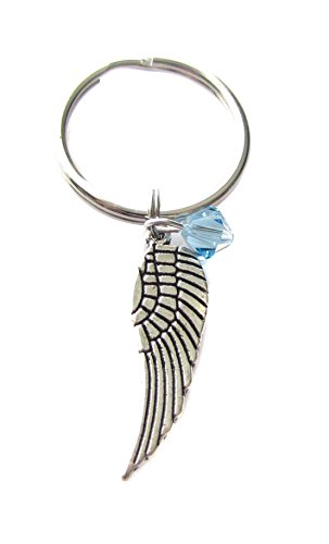 Price comparison product image March Aquamarine Swarovski Birthstone Crystal Angel Wing Charm Keychain, Key Chain, Bag Charm Gift