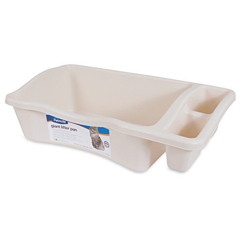 Petmate Giant Litter Pan Cat Litter Box with Side Storage Bleached Linen