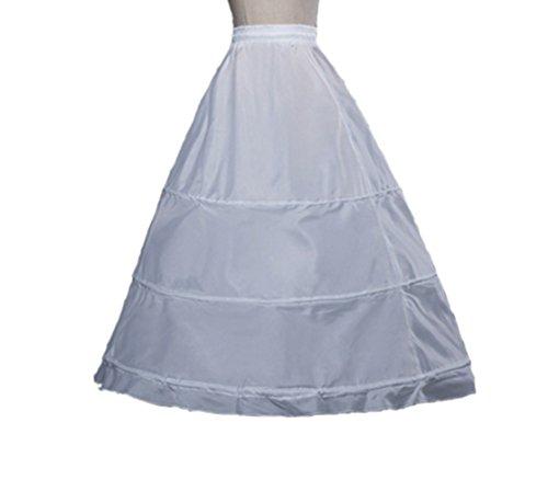 NSPSTT Women's Full 3 Hoops Petticoats/Underskirt Wedding Slips Free Size (One Size, White) ()