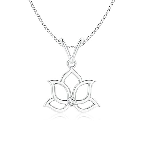 Bezel-Set Diamond Lotus Flower Pendant in 14K White Gold (1.6mm - Gold White Diamond Flower Pendant