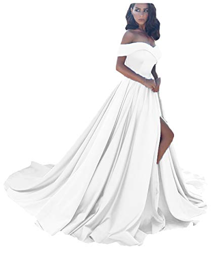 Dressesonline Women's Off The Shoulder A Line Split Prom Evening Dresses Long Formal Gown US2 White