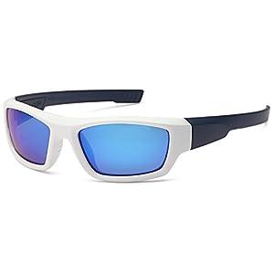 NAGA Kids 6-14 UV400 Polarized Sports Sunglasses - Blue Mirror Lens White Navy Frame