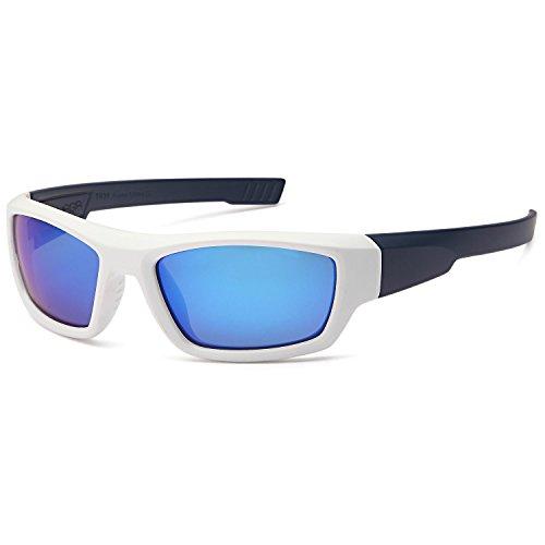 Naga Sports Youth Teenager UV400 Polarized Sunglasses for Baseball, Softball, Running, Fishing, Biking - Kids Ages 6-14 (POLARIZED Blue Mirror Lens White Navy - Sunglasses Hodgson Lenses