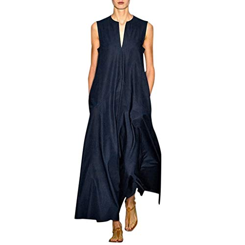 Women's Casual Dresses Retro Solid Straight Loose Shift Long Dress Split Neck Summer Sleeveless Maxi Dress with Pockets Dark Blue