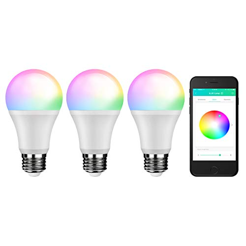 LE A19 E26 Smart Bulbs, No Hub Required, 9W 800lm, 60W Incandescent Equivalent, Neutral White, RGBW Dimmable LED Light Bulb, Smart Phone Remote Control, Works with Android and iOS (3 packs)
