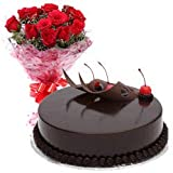 FLOWER AND GIFTS 20 Red Rose Bunch with Free 1 Kg Downy Chocolate Truffle-Cake …