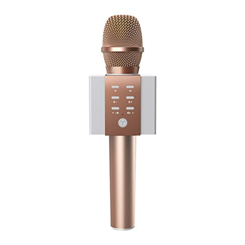 CCYOO Bluetooth Speaker 3 In 1 Handheld Karaoke Microphone With One Button To Remove Original Singsing Function Sing Anytime TF Card,Pink ()