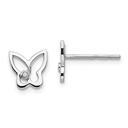 Butterfly Post Earrings (ICE CARATS 925 Sterling Silver Diamond Butterfly Post Stud Ball Button Earrings Animal Fine Jewelry Gift Valentine Day Set For Women Heart)