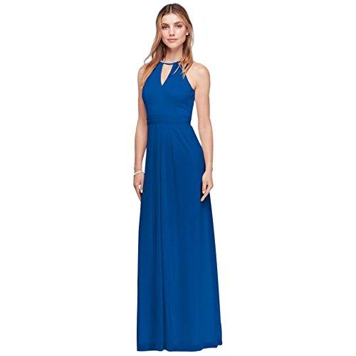 Beaded Keyhole Long Mesh Bridesmaid Dress Style W11046, Horizon, 12 (Mesh Keyhole)