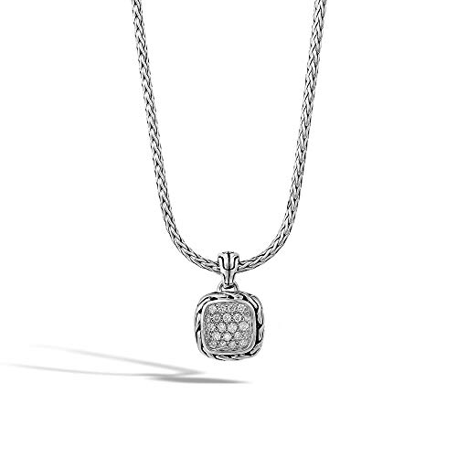 John Hardy Women's Classic Chain Silver Diamond Pave Square Pendant- on Chain Necklace with Diamond (0.21ct), Size 16-18 Adjustable