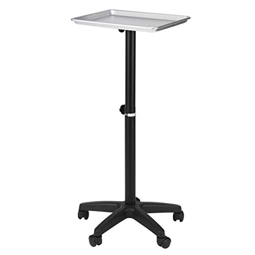 VIVOHOME Rolling Aluminum Medical Salon Instrument Tray Station Mobile Spa Hair Color Service Cart with Accessory Caddy