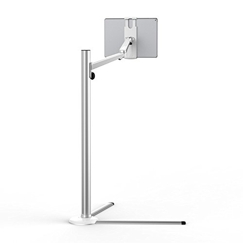 UPERGO Floor Stand for Cell Phones, Tablets and E-Readers, Height Adjustable, 360 Degree Rotating(UP-6S), Silver