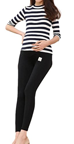 Cotton Rib Leggings - OtnJapan Women's Maternity Pants Rib Leggings Cotton Material 9 Minutes Length (Black)