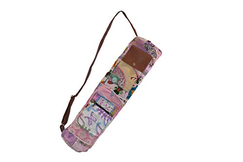 Yoga Bag- PINK Vintage Gypsy Hand-stitched Traditional Banjara Sling with Leather Strap