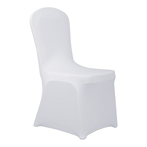 Haorui Spandex Chair Covers for Dining Room Banquet Wedding Party (4 pcs, White)]()