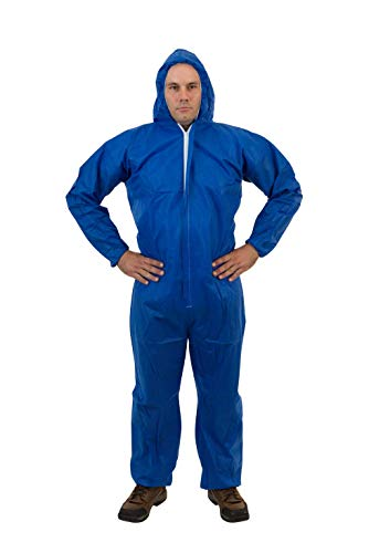 International Enviroguard - Standard SMS 3 Layer General Protective Coverall for General Cleanup (Blue) Attached Hood and Elastic Wrist Ankle, M (25 per case) ()