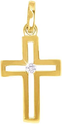 MyGold Kreuz Anhänger (Ohne Kette) Gelbgold 333/750 Gold (8/18 Karat) Mit Stein Zirkonia Innen Offen 23mm x 11mm Kettenanhänger Goldkreuz CrossFire MOD-06652