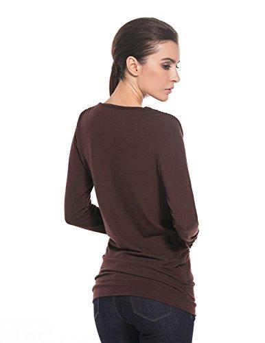 MODETREND Prendas de punto para Mujeres Blusas con Botones V-escote Camisetas Manga Larga Camisas Tops Café