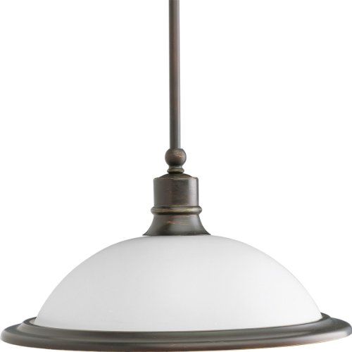 Progress Lighting P5079-20 1-Light Pendant with White Etched Glass, Antique Bronze