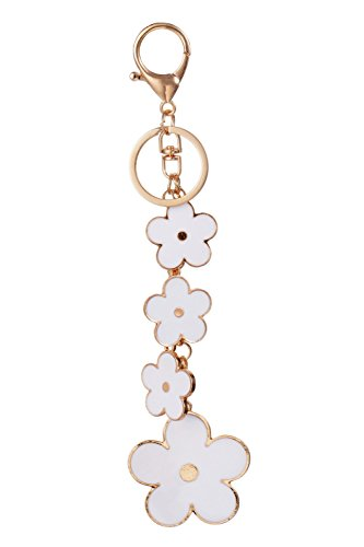 Giftale Womens Flower Bag Charms White Enameled Keychain Purse Accessories,#526-1D