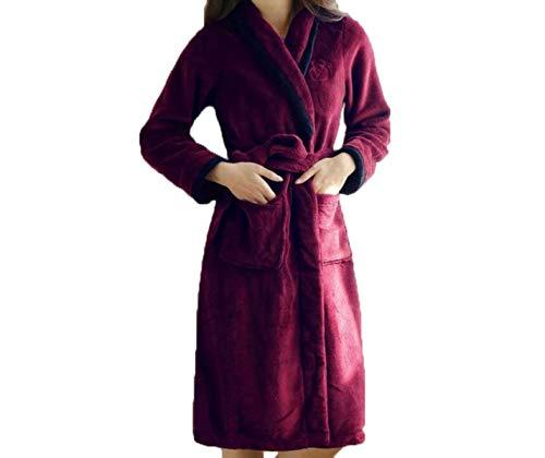 Servicio Manga Domicilio Franela Albornoz E De Rojo Camisón Mujer Pijama Bata Mujeres Otoño Invierno Larga Engrosamiento A Casuales 71Uqx