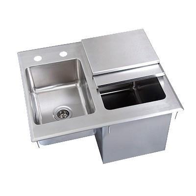 BK Resources Ice/Water Bin Drop-In Ice Bin, With Sink, 21''W x 18''D, Stainless Steel