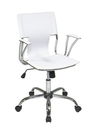 AVE SIX Dorado Contour Seat and Back with Built-in Lumbar Support Adjustable Office Chair, White