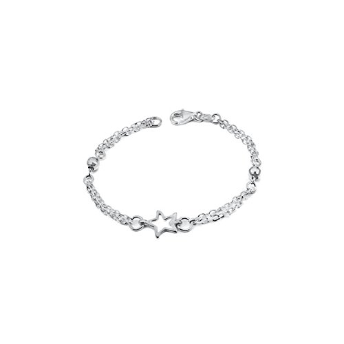 Italian Sterling Silver Double Strand Rolo Chain with Floating Star and Diamond Cut Balls Bracelet, Bracelet Dimension of 4MMx177.8MM
