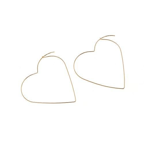 Heart Hoop Earrings Large Geometric Dangle Love Hoops Earrings Gold Plated Fashion Earrings for Women