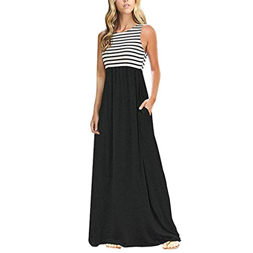 Oasis Striped Satin - YEZIJIN Women Summer Striped Sleeveless Crew Neck Long Bohe Maxi Dress with Pockets Under 10 Dollars Black