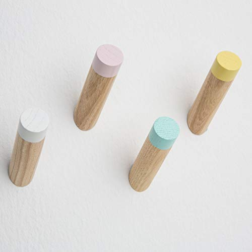 "Wooden Modern Coat Hooks 3"" Wall Mounted Decorative Hat Hanger Towel Rack Natural Wood Hook Vintage Organizer (White Pink Yellow Blue Pack of 4)"