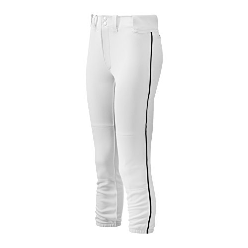 Mizuno Women's Select Belted Piped Pant (White/Black, Medium)