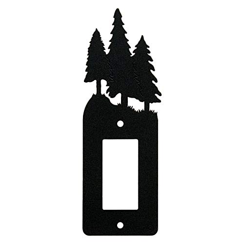 3 Pine Trees Single Gang Light Switch, GFCI Power Outlet, Wall Plate (Single Rocker (GFCI), Black)