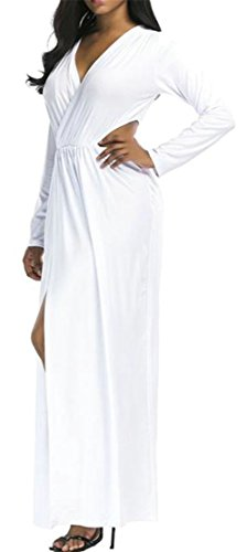 Cromoncent Dresses Casual Slit Long Cut V White Sleeve Women's Out Neck Party vUr5Hqv1n