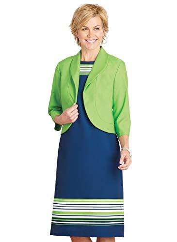AmeriMark Stripe Border Print Jacket Dress Sage/Navy 16 Misses