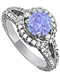 Fab Gift Tanzanite and CZ Split Shank Ring 2.00 TGW