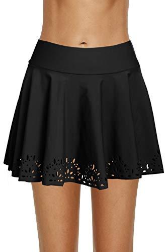 REKITA Womens Swim Skirt Lace Crochet Skort Bikini Bottom (XXL, Black-Lace Edge)